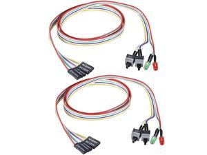 2Pack Computer Case LED Light Red Green ATX Power Supply Reset HDD Switch Cable 27inch Long ATX Case Front Bezel Wire Kit
