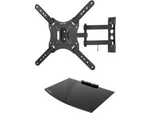 23 to 55 inch Screen TV Wall Mount with Adjustable Tilt and Entertainment Shelf Floating AV DVD Shelving Black MountVWSF1
