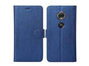 Compatible Moto G7 Case Wallet Case Card Holster Canvas FlipFolio Soft TPU Cover Bumper with Kickstand Ultra Slim Strong Magnetic Closure Cover Compatible Motorola Moto G7 Blue