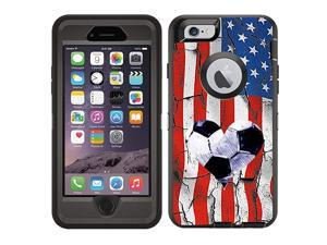 Protective Designer Vinyl Skin Decals/Stickers Compatible with Otterbox Defender iPhone 6 Plus/iPhone 6S Plus Case - USA American Flag Soccer Design Pattern - Only Skins and Not Case