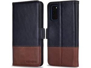 Samsung Galaxy S20 Case/Galaxy S20 5G Case, Genuine Leather [RFID Blocking] Galaxy S20 Wallet Case Flip Cover with Card Slot Stand for Samsung Galaxy S20 6.2 inch (Black/Brown)