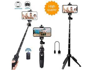 All in one Portable 40 Inch Aluminum Alloy Selfie Stick Phone Tripod with Wireless Remote Shutter Compatible with iPhone 12 11 pro Xs Max Xr X 8 7 6 Plus Android Samsung Smartphone