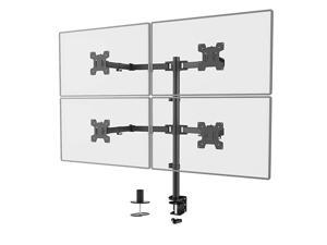 Quad LCD Monitor Desk Mount Fully Adjustable Stand Fits 4 Screens up to 27 inch, 22 lbs. Weight Capacity per Arm (M004), Black