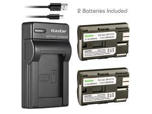 Battery X2 amp Slim USB Charger for Canon BP511 BP511A BP511 and EOS 5D 10D 20D 30D 40D 50D Digital Rebel 1D D60 300D D30 Kiss Powershot G5 Pro 1 G2 G3 G6 G1 Pro90 Optura 20 Grip BGE2N