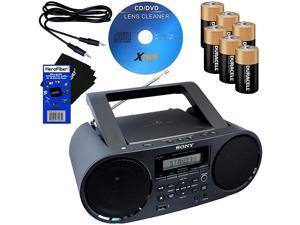Sony Bluetooth & NFC (Near Field Communications) MP3 CD/CD-RW MEGA BASS Stereo Boombox with AM/FM Radio & USB Playback + 6 Batteries + Xtech Cleaner + Auxiliary Cable &  Cleaning Cloth