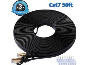 7 Ethernet Cable 50 Ft Black Flat Gigabit High Speed Gigabit Shielded RJ45 LAN Cable