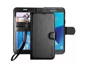 Galaxy J7 V J7 Perx J7 Sky Pro J7 Prime J7 2017 Galaxy Halo Case Luxury PU Leather Wallet Flip Protective Case Cover with Card Slots and Stand for Samsung Galaxy J7 2017 Black