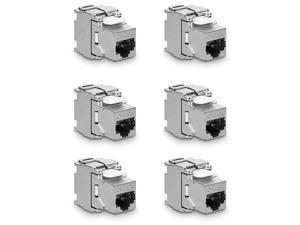 Keystone Module Jacks 6 Piece CAT6A Shielded Keystone Jack RJ45 Cat 6A Ethernet Module 10 Gbit with Shielded Metal Housing