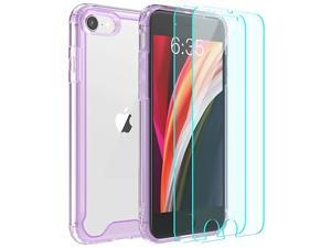 iPhone SE 2020 CaseiPhone 8 CaseiPhone 7 Casewith 2 x Tempered Glass Screen Protector Premium Clear Soft TPU + Hard PC AntiScratch AntiYellow Case for iPhone SE 202087 47 inchPurple