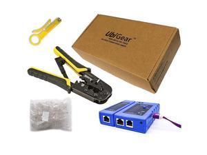 Cable Tester +Crimp Crimper +100 RJ45 CAT5e Connector Plug Network Tool Kits 568ToolKits