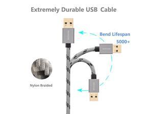 USB 3.0 Cable Male to Male 6 ft,  USB to USB Cable Nylon Braided Cable Aluminum Shell for Data Transfer Hard Drive Enclosures, Laptop Cooling Pad, Modems, Cameras and More
