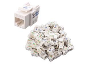 UL Listed 50Pack RJ45 Keystone Jack in White with Keystone PunchDown Stand