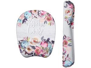 Wrist Rest Mouse Pad NonSlip Mouse Mat with Comfortable Memory Foam Padding and Ergonomic Design for PC Computer Laptop Mac Watercolor Flowers Bundle