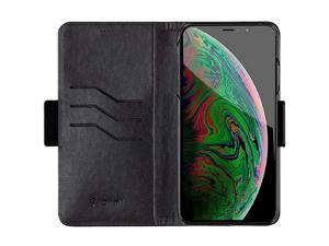 iPhone Xs Max Vegan Leather Wallet Case Black with Internal Card Slots Magnetic Cover Form Collection