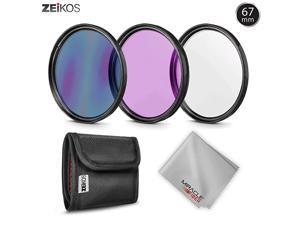67MM  Photo Professional Photography Filter Kit UV CPL Polarizer FLD for Camera Lens with 67MM Filter Thread + Filter Pouch with Miracle Fiber Cloth ZEFLK67
