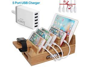 Hulin Bamboo Charging Station Holder with 5 Port USB Charger Watch Stand 5 x Charge Cable Wood Docking Stand Electronic Organizer for Multiple Devices Phones Tablets Laptop and More