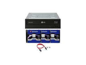WH16NS40 16X Bluray BDXL DVD CD Internal Burner Drive Bundle with Free 3pk 25GB MDISC BD + SATA Cable + Mounting Screws