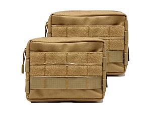 Molle Pouches Tactical Admin Pouch Compact EDC Utility Gadget Gear Pouch Military Carry Accessory Belt Hanging Waist Bag 2 Packtan7quotL 51quotH