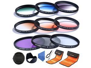 62mm UV CPL FLD Graduated Filter Lens Accessory 9pcs Filter Kit UV Protector Circular Polarizing Filter + Microfiber Lens Cleaning Cloth + Petal Lens Hood + Filter Bag Pouch