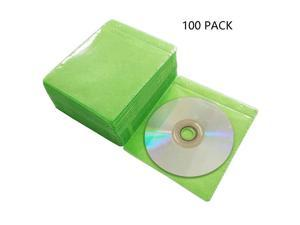 100 Pack Premium CD DVD SleevesThick NonWoven Material DoubleSided Refill Plastic Sleeve for CD and DVD Storage Binders Disc Case Green