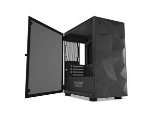DLM21 MESH Micro ATX Mini ITX Tower MicroATX Black Computer Case with Door Opening Tempered Glass Side Panel amp Mesh Front Panel