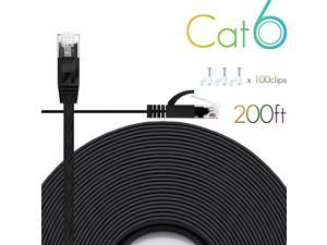 Ethernet Cable Cat6 200 Ft Flat with Cable Clips,  cat 6 Ethernet Rj45 Patch Cable, Slim Network Cable, Thin Internet Computer Cable - 200 Feet Black(60 Meters)…