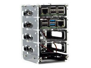Zebra Bramble Cluster Fan Case Raspberry Pi 4B amp 3B+ 4 Stack Black Ice