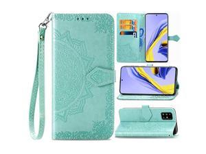 Samsung Galaxy A51 Wallet Case Flower Embossed Premium PU Leather Wallet Flip Protective Phone Case Cover with Card Slots and Stand Samsung Galaxy A51 2020 Release Green