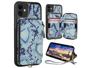 iPhone 11 Wallet Case iPhone 11 Case with Credit Card Holder Zipper Wallet Case with Wrist Strap Protective Purse Leather Case Cover for Apple iPhone 11 61 inch Blus Snake Skin
