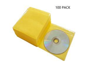 100 Pack Premium CD DVD Sleeves,Thick Non-Woven Material Double-Sided Refill Plastic Sleeve for CD and DVD Storage Binders Disc Case (Yellow)