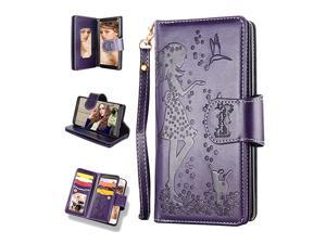 Samsung Note 9 CaseGalaxy Note 9 Wallet Case 9 Card Slots High Capacity PU Leather Magnetic Protective Cover with Mirror and Wrist Strap for Samsung Galaxy Note 964 inch Purple