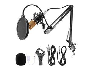 Condenser Microphone Set BM800 with Adjustable Recording Microphone Suspension Scissor Arm Stand with Shock Mount and Mounting Clamp Kit for Studio Broadcasting Recording