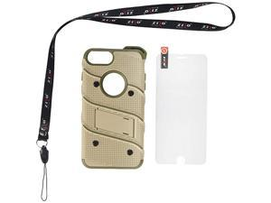 Bolt Series for iPhone 8 Plus Case Military Grade Drop Tested Glass Screen Protector Holster iPhone 7 Plus case Desert TAN CAMO Green