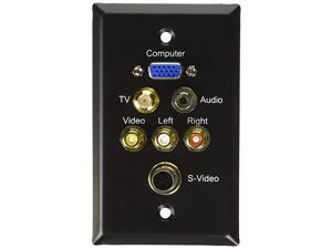 Cables to Go 40967 Single Gang HD15 Composite Video and Stereo Audio Wall Plate Black