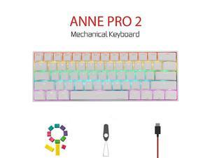 Anne Pro 2 Mechanical Gaming Keyboard 60 True RGB Backlit WiredWireless Bluetooth 50 PBT Typec Up to 8 Hours Extended Battery Life Full Keys Programmable Gateron Blue White