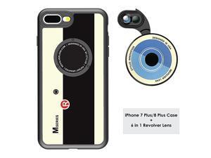 Designer Revolver M Series Camera Kit 6 in 1 Lens with Case for iPhone 7 Plus 8 Plus 2X Telephoto Lens Macro Super Macro Lens Wide Angle Lens Retro Camera