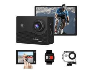 4K+ 30fps WiFi Real 4K Action Camera 100 Feet Waterproof Remote Control Sports Camera Touch Screen 170 Degree Ultra Wide Angle Lens with 2 Rechargeable Batteries and Mounting Accessories Kit