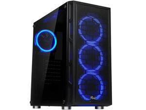 ATX Mid Tower Gaming PC Computer Case with Dual Ring Blue LED Fans 360mm Water Cooling Radiator Support Tempered Glass and Steel USB 30 Spectra C100