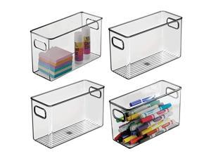 Plastic Home Office Storage Organizer Bin with Handles Container for Cabinets Drawers Desks Workspace BPA Free for Pens Pencils Highlighters 4 Wide 4 Pack Smoke Gray