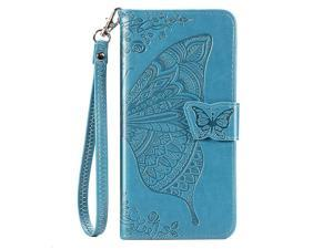 Galaxy A20 Wallet Case Galaxy A30 Case Butterfly Flower Embossed Premium PU Leather Wallet Flip Protective Phone Case Cover with Card Slots and Stand for Samsung Galaxy A20A30 Blue