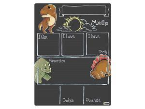 Monthly Milestone Board for Baby with Dinosaur Theme Reusable Chalkboard Style Surface and No Liquid Chalk Marker 12 by 16 Inches No Marker