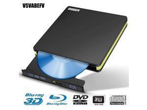 External CD DVD Bluray Drive 3D Portable Slim USB30 Blu Ray Player Burner HighSpeed USB DVD Reading and Writing Drive Compatible with Windows XP7810 for LaptopDesktopMacBook Pro Air
