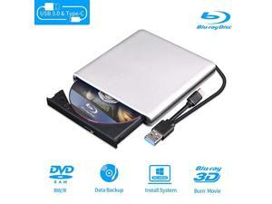 Blu Ray DVD Drive 3D USB 30 and TypeC Bluray CD DVD Reader Slim Optical Portable Bluray Drive for MacBook OS Windows xp7810 Linux Laptop PC SilverGrey