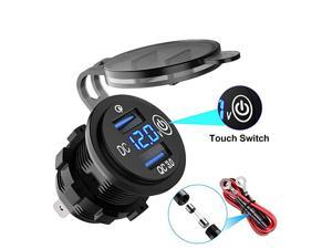 Upgraded Version Quick Charge 30 Dual USB Car Charger Waterproof 36W 12V USB Outlet Fast Charge with Voltmeter amp Switch for 12V24V Car Boat Marine ATV Bus Truck and More