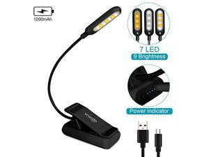 Rechargeable Reading Light, 7 LEDs with 9 Color Temperature 9 Brightness Levels Clip On Book Lights for Reading in Bed with Power Indicator for Bookworms (Black)