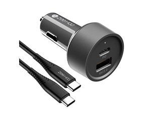 2021 Version] USB C Car Charger,  38W 2-Port Fast PD Car Charger with 20W Power Delivery and QC 3.0 3A (3.3ft USB C Cable Included) (Grey)