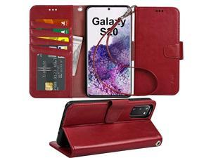 Case for Samsung Galaxy S20 PU Leather Wallet Case Cover Stand Feature with Wrist Strap and 4Slots IDCredit Cards Pocket for Galaxy S20 5G 62 inch not for FE Wine Red