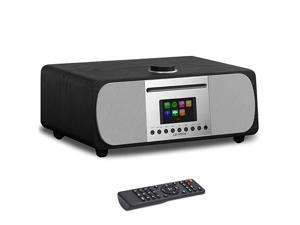 M5+ AllinOne Music System CD PlayerInternet RadioFM RadioWiFiSpotify ConnectBluetoothWooden BoxUSB MP3HeadphoneOutClockAlarmsColour Display Remote app Control Black Oak