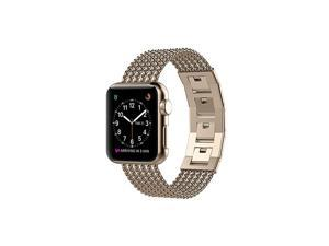 Compatible with Apple Watch Bands 42mm Series 3 2 1 44mm Series 5 4 Stainless Steel iWatch Band Wristband Bangle Bracelet Strap Accessories for Apple Watch Band 44mm 42mm Champagne Gold