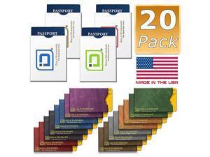 Stronghold - RFID Blocking Sleeves, Set of 20 (16 Credit Card Sleeves + 4 Passport Sleeves) - Passport and Credit Card Protector Sleeves - Anti RFID Theft Protection